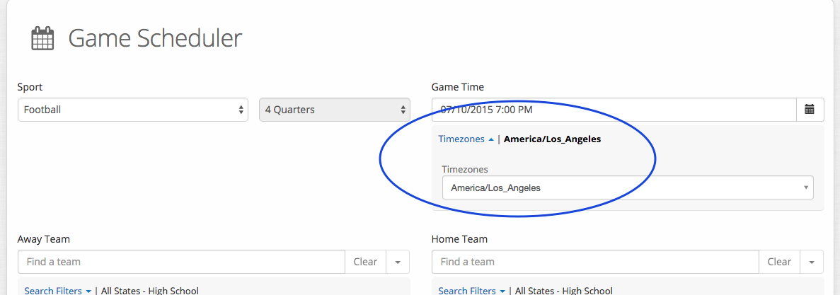 game scheduler-time zone