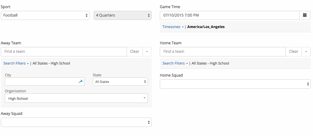 game scheduler-filter expaneded