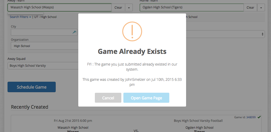 game scheduler-game already exists