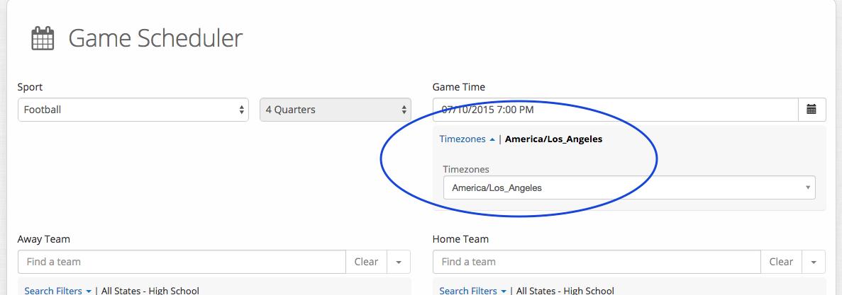 game scheduler-time zone