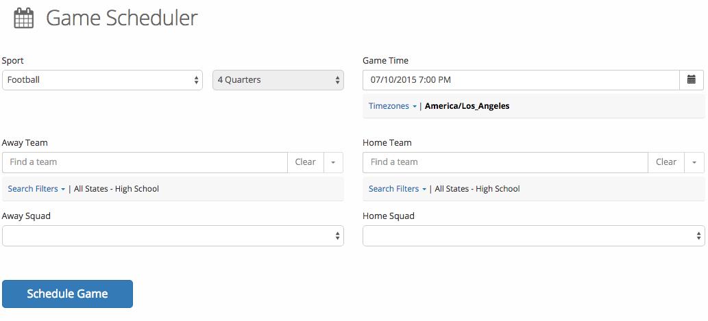 game scheduler-time zones
